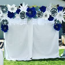 wedding backdrop blue photo booth royal blue silver and white wedding decor paper