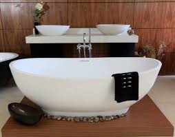 Laminated Timber Floor Bathroom Cozy White Bathroom Tub Design In Laminated Wooden Case