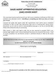 sales agent apprentice education sae cover sheet trec