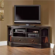 Sauder Harbor View Bedroom Set Corner Tv Stand In Antiqued Black Corner Tv Stands Corner Tv