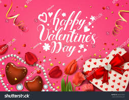 happy valentines day card realistic rose stock vector 562161646