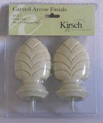 Newell Curtain Rods by Kirsch Carved Arrow Curtain Rod Finials Set Of 2 Creme Gold Ebay