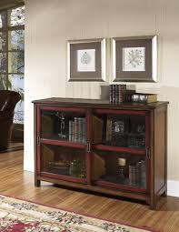 short bookcase with doors classic walnut brown bookcase with red sliding glass doors frame