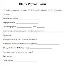 sample blank payroll form template 8 free documents in pdf word