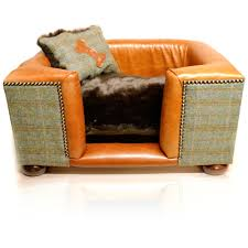 luxury tweed leather dog bed joshua jones