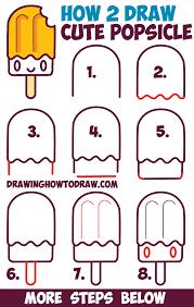 draw cute kawaii popsicle creamsicle face