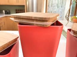amazon com kitchen canister 3 piece set airtight bamboo lid