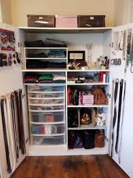 simple small closet for clothes organizing and white wire rack