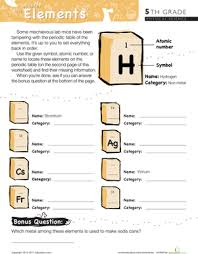periodic table worksheet for middle 5th grade periodic table worksheets education com