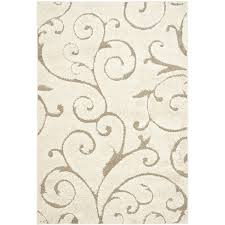 Modern Pattern Rugs 3 3 X 5 3 Shag Area Rug In Beige White With Scrolling Floral