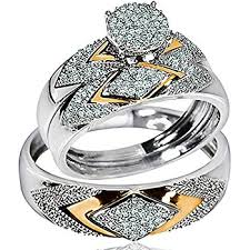 wedding ring sets for him and cheap yellow gold trio wedding set mens women rings real 1
