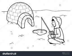 coloring page eskimo igloo fishing stock vector 456040090