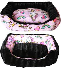 mirage pet products mardi reversible bumper dog bed pink unicorn small