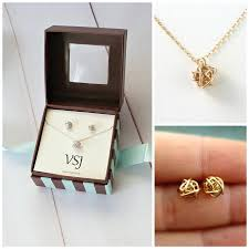 necklace gift sets images Love knot necklace and stud earring gift set rose gold love knot jpg
