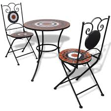 Mosaic Bistro Table Cheap Mosaic Bistro Table 60 Cm With 2 Chairs Terracotta White