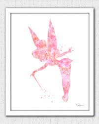 tinkerbell printable art coral pink tinkerbell instant