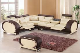 Leather Sectional Sofa by Sectional Sofa By Esf In Beige U0026 Brown Leather