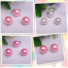 kids clip on earrings korean princess earrings pearl ear clip earrings set for