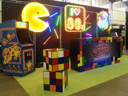 80s party table decorations 80s decor ideas pac man neon rubik s cube vintage arcade 80s