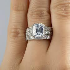 emerald cut wedding set vintage emerald cut cz wedding ring set