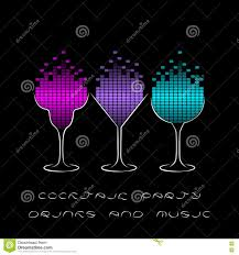 cocktail party template with glasses and equalizer stock vector