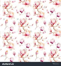 Magnolia Wallpaper Watercolor Seamless Wallpaper Magnolia Flowers Leaves Stock