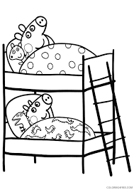 peppa pig coloring pages peppa and george sleeping coloring4free