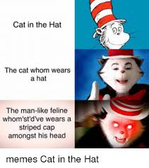 Cat In The Hat Meme - cat in the hat the cat whom wears a hat the man like feline whom st