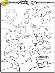 Fun At The Beach Coloring Page Crayola Com Sandcastle Coloring Page