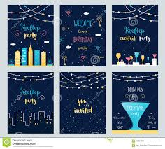 vector set of rooftop cocktail and birthday party invitation