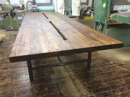Wood Conference Table Handmade Reclaimed Wood Conference Table With Pipe Legs By Reworx