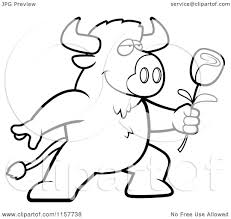 cartoon clipart of a black and white romantic buffalo presenting a