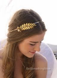gold leaf headband grecian gold metal leaf and flower headband with rhinestones