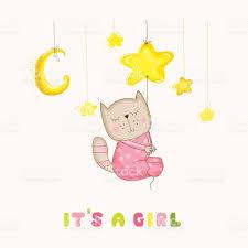 baby cat sleeping on a star baby shower card stock vector art