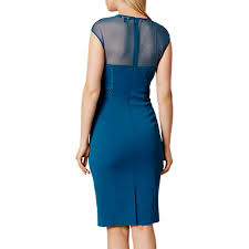 buy karen millen tapework insert dress blue john lewis