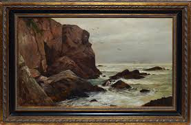 impressionist style oil painting of rocky coast by james brade