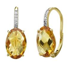 citrine earrings in 14kt yellow gold with diamonds 1 20ct tw