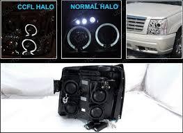 cadillac escalade headlights 02 06 cadillac escalade chrome dual ccfl halo projector led headlights