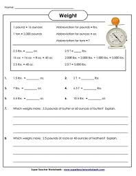 measuring weight pounds and ounces worksheets