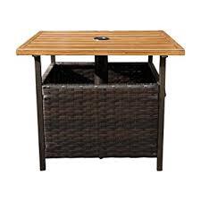 Rattan Bistro Table Sunlife Patio Umbrella Base Side Table Outdoor