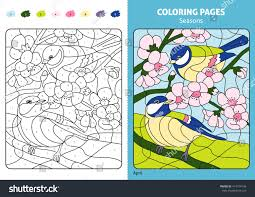 seasons coloring page kids april monthprintable stock vector