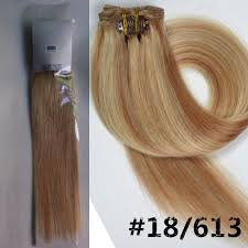 18 Remy Human Hair Extensions by Color 18 613 Beige Ash Blonde Mix Blonde 22inch 7pcs Fashional