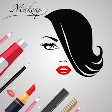 makeup banner woman face sketch accessories icons ornament vector