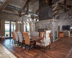 cowhide chair dining room rustic with wood floor fire tools wood floor