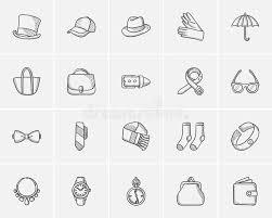 accessories sketch icon set stock vector image 76481147