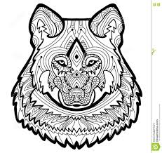 coloring page for adults strong wolf is drawn by hand with ink