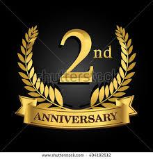 logo ribbon 2nd golden anniversary logo ring ribbon stock vector 404192512