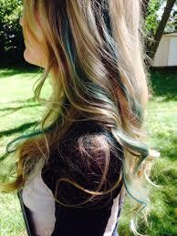 long blonde wavy hair with blue teal green mermaid peekaboo color