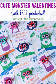 cute monster valentines with free printables just a and