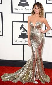 E Red Carpet Grammys Chrissy Teigen From Best Dressed At The 2014 Grammys Gowns Red